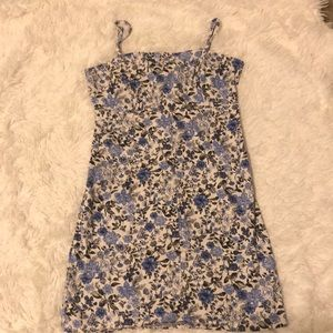 Flower printed body con dress